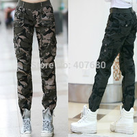 Casual Loose Camouflage Army Green Outdoors Cargo Pants Elastic Waist 100% Cotton Sport Jogging