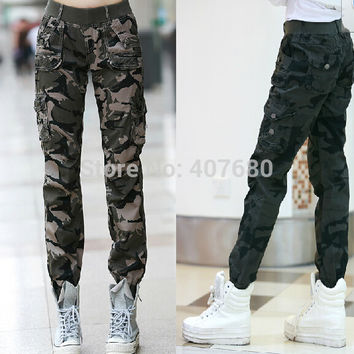 2016 New Womens Fashion Casual Loose Camouflage Army Green Outdoors Cargo Pants Elastic Waist 100% Cotton Sport Jogging