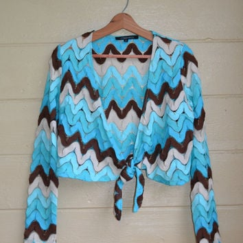 Vintage 70s Crochet Sweater Shrug Sweater Crop Bolero Cardigan Tie Waist Semi Sheer Sweater