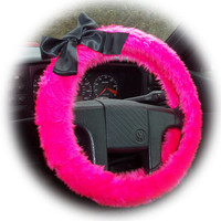 Barbie Pink faux furry fur fuzzy fluffy car Steering wheel cover with Black Bow