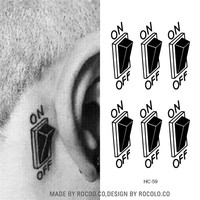 HC1059 3d Switch Button Design Temporary Tattoo Sticker Waterproof Fake Tattoo Sticker Men Women Ears Personalized Stereoscopic