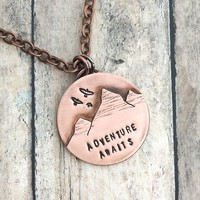 Adventure Awaits Mountain Range Copper Necklace