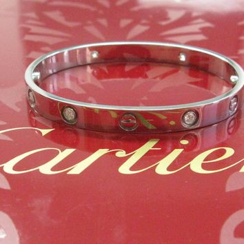 Cartier 18KT 4-Diamond Love Bracelet White Gold Sz 18 OD8340