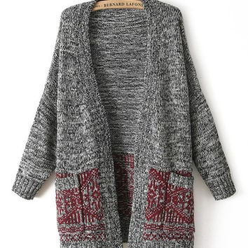 Tribal Pattern Accent Double Pocket Non Button Knitted Cardigan