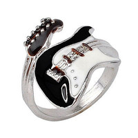 Women Elegant Guitar Punk Ring Charm Colorful Guitar Ring Musical Finger Ring EW
