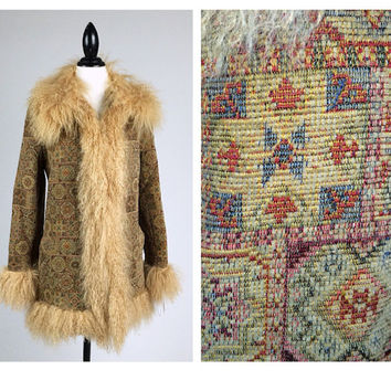 Penny Lane Almost Famous 70's Thick Woven Tapestry Shaggy Real Curly Lamb Fur Trimmed Coat  // M