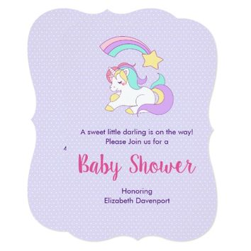 Cute Unicorn with a Shooting Star Baby Shower Card