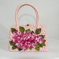 Vintage 1950s Pink Handbag With Petite Flowers and Velvet Leaves Small Kelly Bag Purse