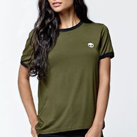 LA Hearts Alien Ringer T-Shirt - Womens Tee - Green