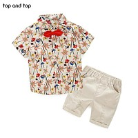 2017 high quality  Kids Clothing Sets T-shirt +short pants 2pcs baby clothing Boys Clothes Baby boys set red green beige