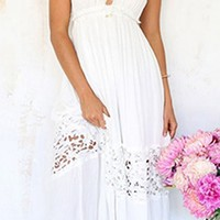 Wander Off White Spaghetti Strap V Neck Backless Halter Empire Waist Lace Trim Pleated Maxi Dress