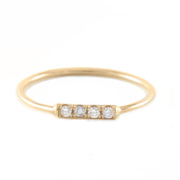 Small Gold Ring with Four Diamonds