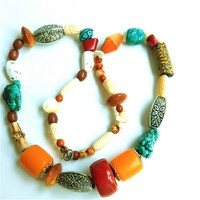 Long Contemporary Handmade Necklace, Colorful Beads from Many Sources