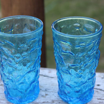 2 vintage Lido Milano turquoise juice glasses, vintage laser blue shot glasses, retro crinkle juice glasses, ocean blue shot glasses, RETRO
