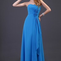 Blue  Strapless Pleated Flower Ruffled Chiffon Evening Dress