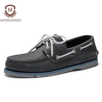 Maden 2018 Spring High Quality Men Leather Casual Shoes Classic Hand-made Boat Shoes Breathable Sneakers Retro Vintage Flats