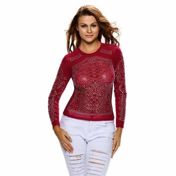 Red Iridescent Stones Long Sleeves Top