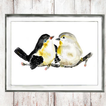 Vintage  Watercolor birds swallows watercolor painting birds arts wall decor home decor wall art   watercolor art digital download printable