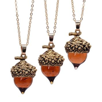 Fashion Women Glaze Acorn Cone Pendant Spinning Top Pendant Charms With Red Quartz Drop Imitate Natural Stone Necklaces Jewelry