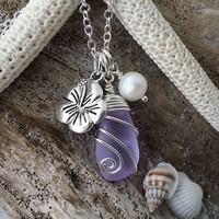 """Handmade in Hawaii, Wire wrapped February Birthstone, """"Magical Color Changing"""" Purple necklace, Hibiscus Pearl charm"""