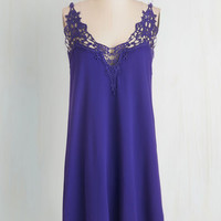 Short Length Spaghetti Straps Shift Sway it Right Dress in Lapis