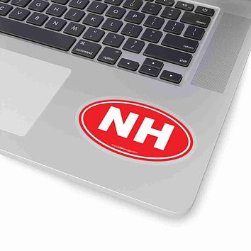 New Hampshire State Shape Sticker SOLID RED