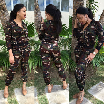 Camouflage Zip-Up Top Drawstring Pants Suit