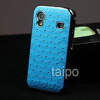 Rhinestone Bling Chrome Plated Luxury Case Cover Samsung Galaxy Ace S5830 Blue