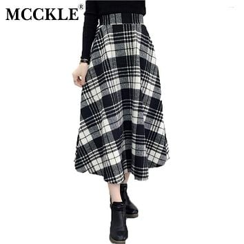 MCCKLE Plaid Skirt Women Long A-Line British Style Woolen Plaid Skirts Kilt Winter Vintage Wool Tartan Umbrella Plaid Skirts
