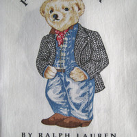 Vintage Ralph Lauren Polo Bear Preppy Cowboy Standard Size Pillowcase Striped Bedding Clean Kids Bedding Pure Cotton Clean Gently Used HTF