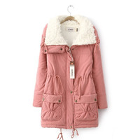 Fashion Winter Women Jacket Loose Jacket Drawstring Winter Warmth Jacket Waist Large Lapel Sherpa Padded