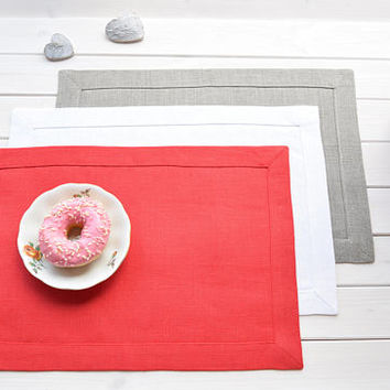Linen placemats, Three colors, Dining placemat, Table Cloth, Cafe Placemats, Wedding placemat, Table setting, Fabric placemats, Linen, Gift