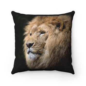 Lion Safari Polyester Square Pillow