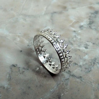 Limited time sale! SILVER TIARA RING and bonus stacker ring set. sterling silver crown ring Romantic statement ring gift for her under 25