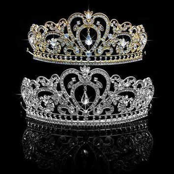 PEAP78W Princess Luxury Rhinestone Hair Accessories Tiara Bridal Wedding Crown Headband