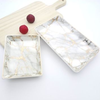 Nordic style Ceramic Rectangle Plate Electroplate Sushi Dish Breakfast Flat Plates Marbling Food Tray Cake Snack Tableware 1pcs