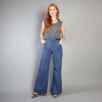 70s High Waist JEANS / Wide Leg Bell Bottoms, xs