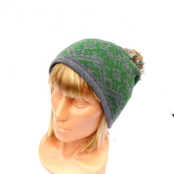 Knitted beanie, knitted duoble winter hat, colorful patterned gray green cap with lining, adult women men pom hat, knitting accessories, tam