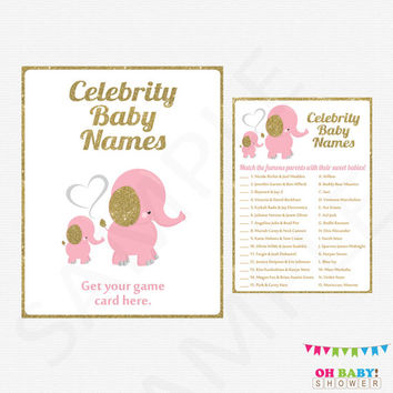 Baby Shower Girl Pink and Gold Elephant Baby Shower Printable Instant Download Baby Shower Games Celebrity Baby Name Game Unique EL0004-LPG