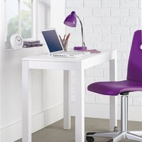 Modern White Parson's Desk / Computer Desk with Pullout Drawer