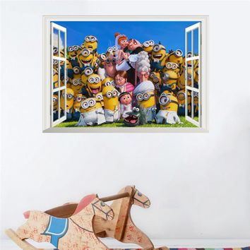 Cartoon Funny beach wall stickers for kids rooms adesivo de parede pvc 3d window wall decal poster mural