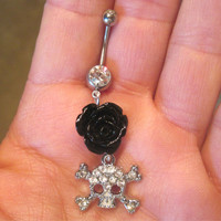 Navel Belly Button Ring Clear Crystal Skull & Rose Rhinestones Barbell Naval Color Choices