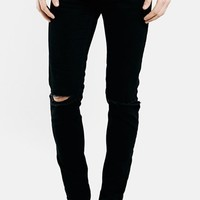 Men's Topman Ripped Stretch Skinny Fit Jeans (Black)