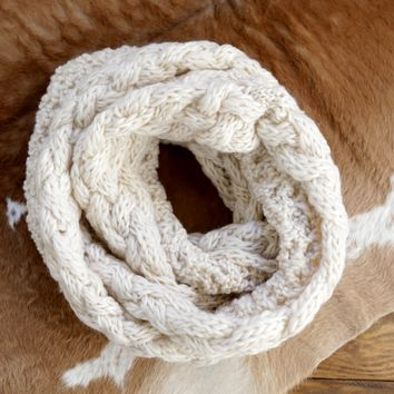 Cable Knit Infinity Scarf, Cream