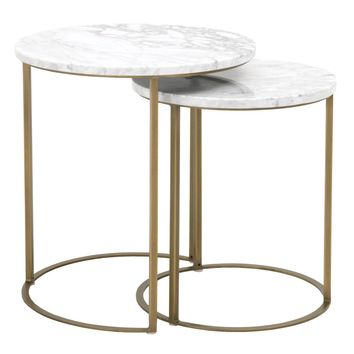 Carrera Round Nesting Accent Table White Carrera Marble, Brushed Gold