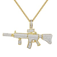 "Ak-47 Assault Gun Rifle Iced-out Pendant 24"" Chain"