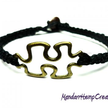 Puzzle Piece Bracelet, Black Macrame Hemp with Brass Tone Charm, Made to Order