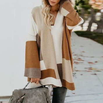 Colorblock Patchwork Long Sweater Cardigan