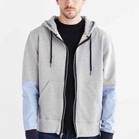 Woven Sleeve Zip Hooded Sweatshirt- Charcoal