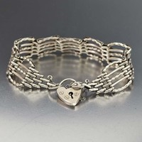 Fancy Silver Gate Link Heart Padlock Bracelet